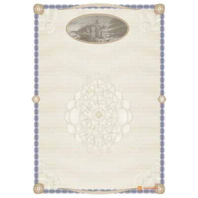 № 1383 бланк с гравюрой собора Василия Блаженного синего цвета